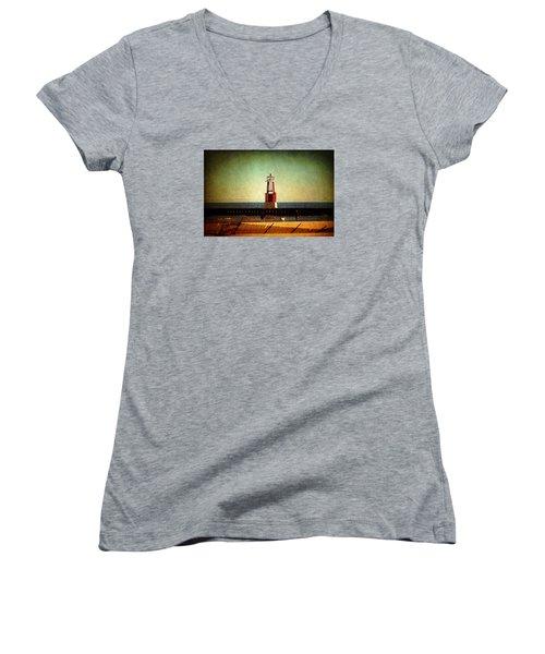 Autumn Fun In Chicago Women's V-Neck T-Shirt (Junior Cut) by Milena Ilieva