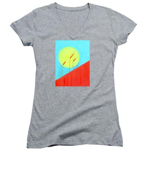 Autumn Harvest Women's V-Neck T-Shirt (Junior Cut) by J R Seymour
