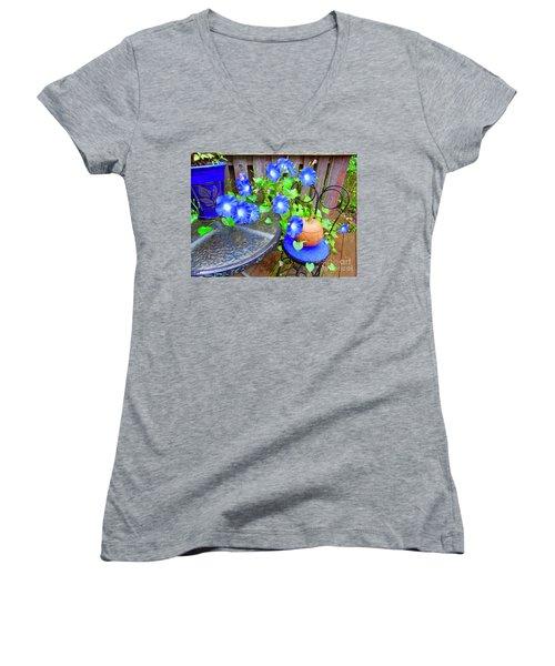 Autumn Heavenly Blues  Women's V-Neck T-Shirt
