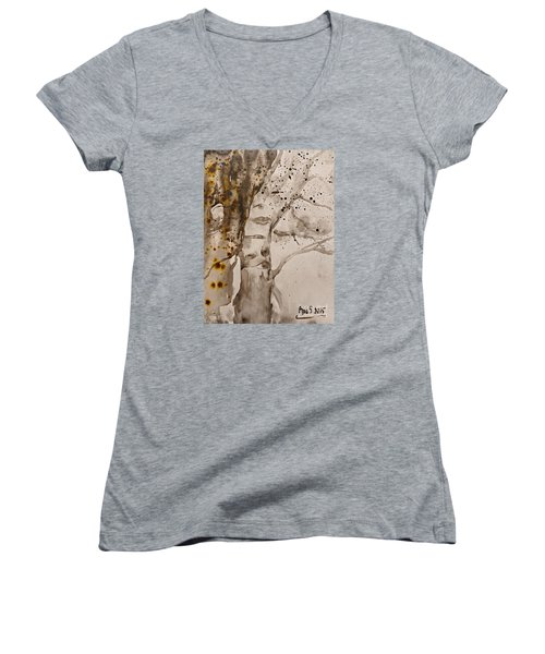Women's V-Neck T-Shirt (Junior Cut) featuring the painting Autumn Human Face Tree by AmaS Art