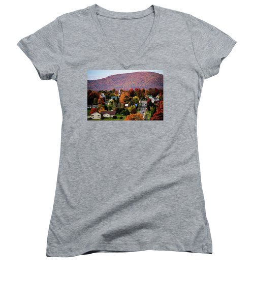 Autumn In Danville Vermont Women's V-Neck T-Shirt (Junior Cut) by Sherman Perry