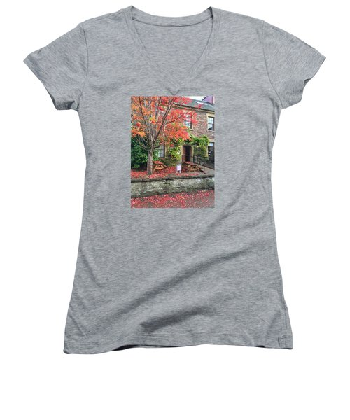 Autumn In Dunblane Women's V-Neck T-Shirt (Junior Cut) by RKAB Works