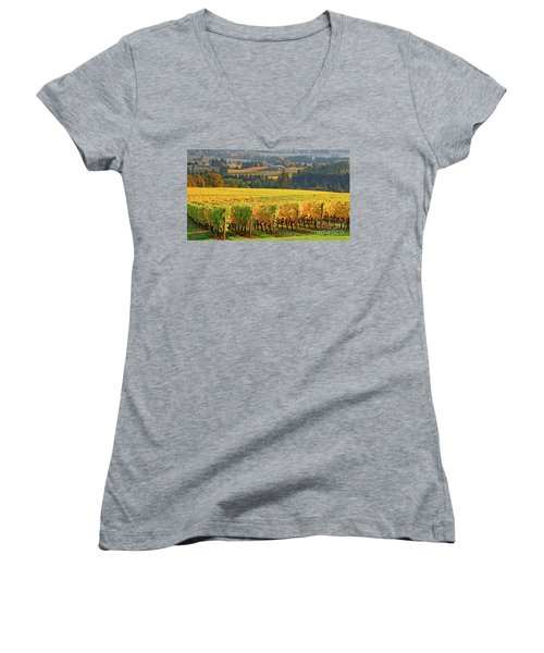 Autumn In Oregon Wine Country Women's V-Neck T-Shirt