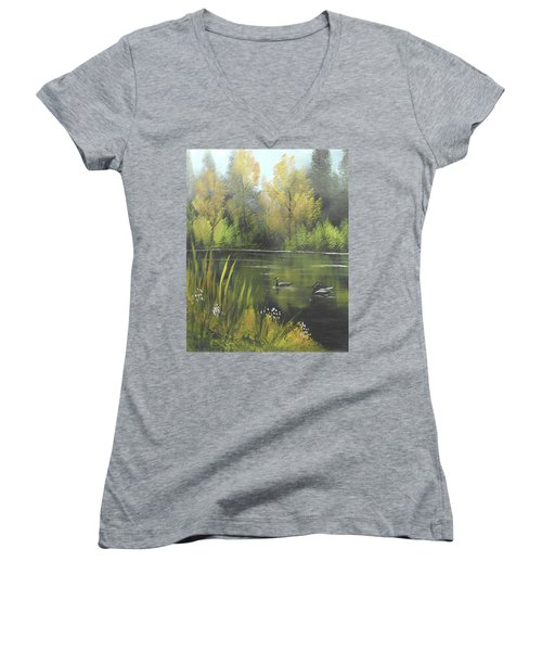 Women's V-Neck T-Shirt (Junior Cut) featuring the mixed media Autumn In The Park by Angela Stout
