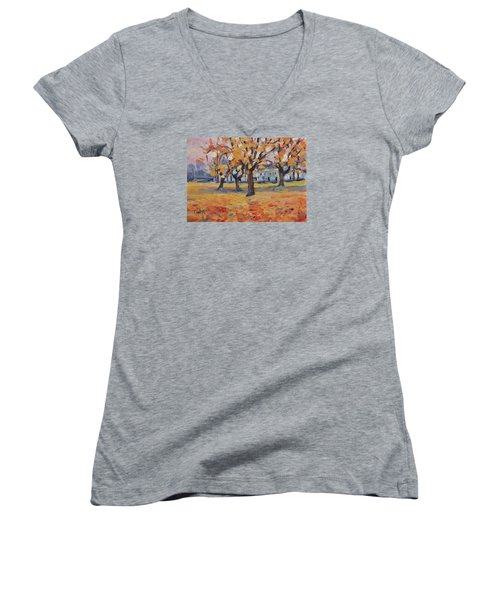 Women's V-Neck T-Shirt (Junior Cut) featuring the painting Autumn In The Villa Park Maastricht by Nop Briex