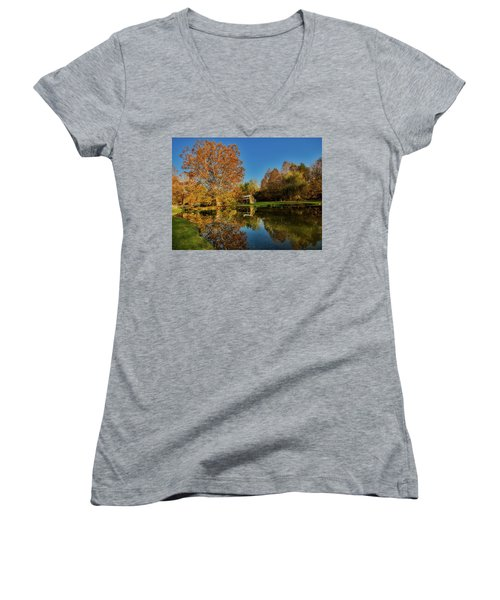 Autumn In West Virginia Women's V-Neck T-Shirt (Junior Cut) by L O C