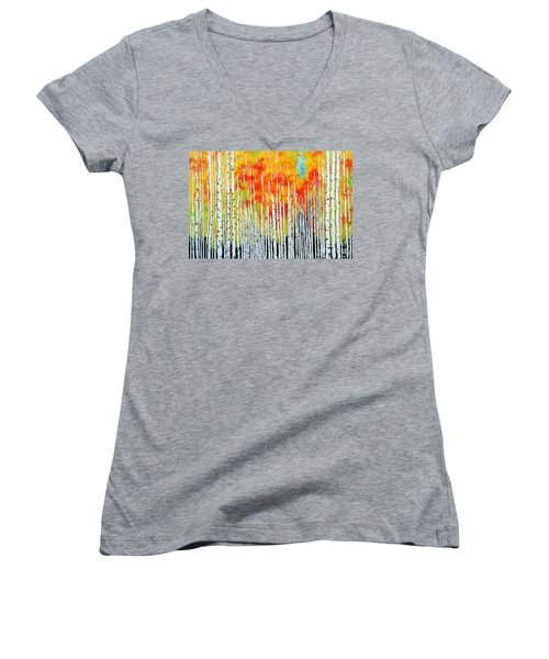 Autumn Women's V-Neck T-Shirt (Junior Cut) by Jackie Carpenter