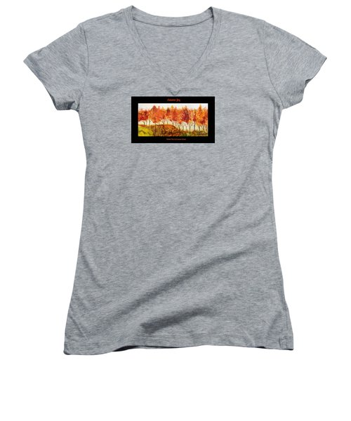 Autumn Joy Women's V-Neck T-Shirt (Junior Cut) by Suzanne Canner