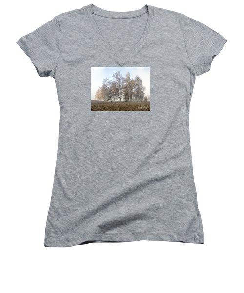 Autumn Landscape In A Birch Forest With Fog Women's V-Neck T-Shirt (Junior Cut) by Odon Czintos