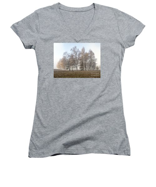 Autumn Landscape In A Birch Forest With Fog Women's V-Neck