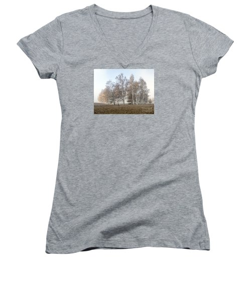 Autumn Landscape In A Birch Forest With Fog Women's V-Neck (Athletic Fit)