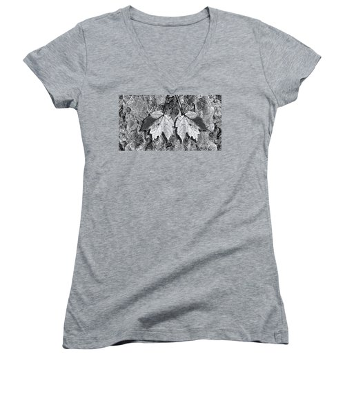 Autumn Leaf Abstract In Black And White Women's V-Neck