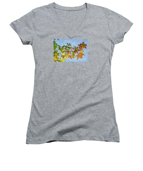 Women's V-Neck T-Shirt (Junior Cut) featuring the photograph Autumn Leaves 2 by Jean Bernard Roussilhe