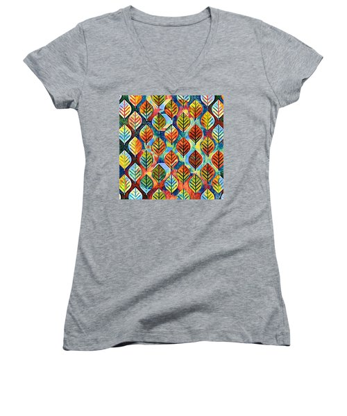 Autumn Leaves Abstract Women's V-Neck (Athletic Fit)