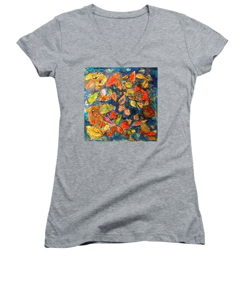 Autumn Leaves Women's V-Neck T-Shirt (Junior Cut) by Barbara O'Toole