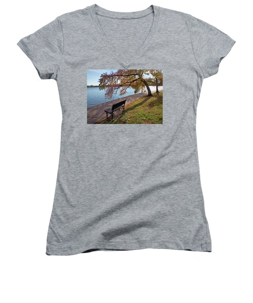 Autumn Leaves In Dc Women's V-Neck (Athletic Fit)