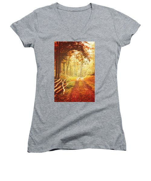 Autumn Lights Women's V-Neck T-Shirt