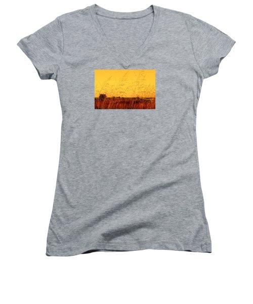 Autumn Women's V-Neck T-Shirt (Junior Cut) by Milena Ilieva