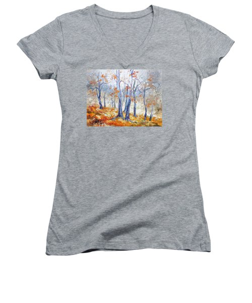 Autumn Mist - Morning Women's V-Neck T-Shirt (Junior Cut)