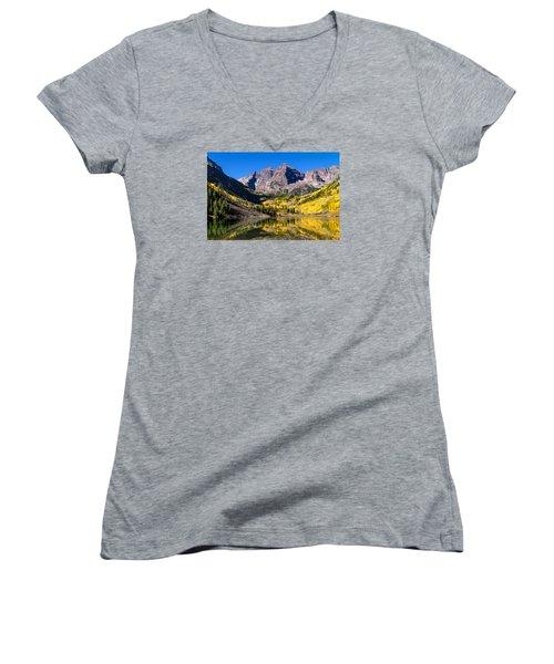 Autumn Morning At The Maroon Bells Women's V-Neck T-Shirt (Junior Cut) by Teri Virbickis