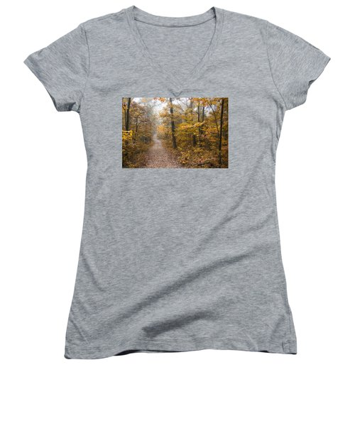 Autumn Morning Women's V-Neck T-Shirt (Junior Cut) by Ricky Dean