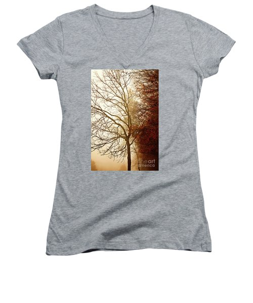 Autumn Morning Women's V-Neck T-Shirt (Junior Cut) by Stephanie Frey