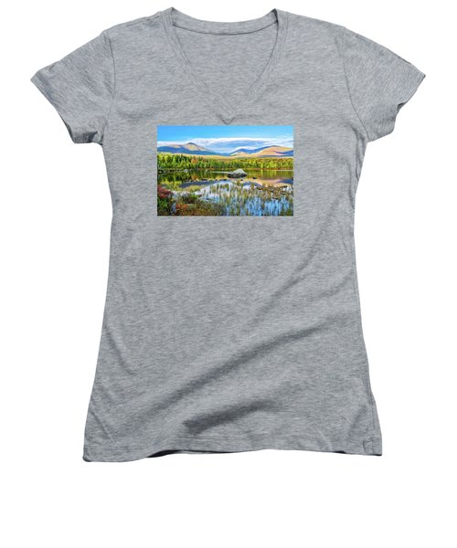 Autumn Mt.katahdin Baxter Sp Maine Women's V-Neck T-Shirt