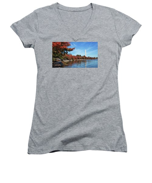 Autumn On Tidal Basin Women's V-Neck (Athletic Fit)