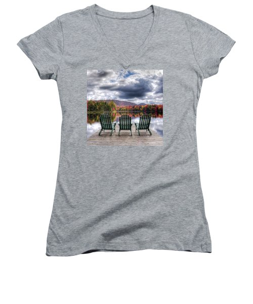 Women's V-Neck T-Shirt (Junior Cut) featuring the photograph Autumn On West Lake by David Patterson