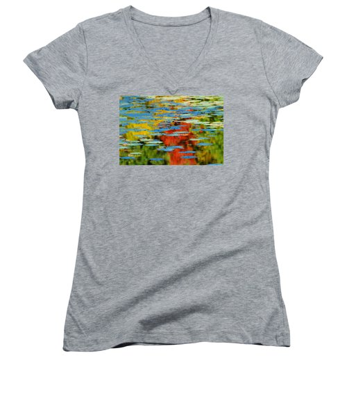 Women's V-Neck T-Shirt (Junior Cut) featuring the photograph Autumn Lily Pads by Diana Angstadt