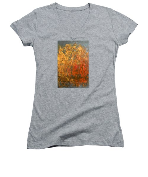 Women's V-Neck T-Shirt (Junior Cut) featuring the painting Autumn Reflections 1 by Jane See