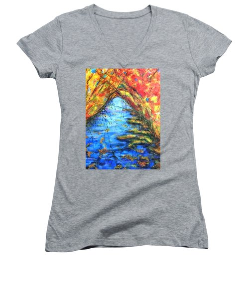 Women's V-Neck T-Shirt (Junior Cut) featuring the painting Autumn Reflections 2 by Rae Chichilnitsky