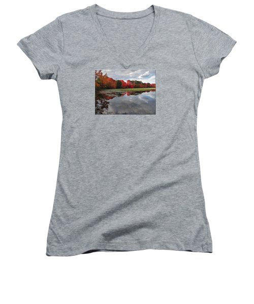 Autumn Reflections Women's V-Neck T-Shirt (Junior Cut) by Mikki Cucuzzo