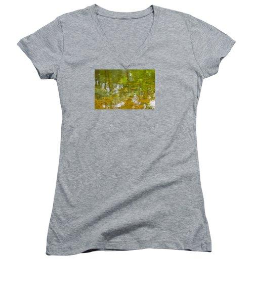Autumn Reflections Women's V-Neck T-Shirt (Junior Cut) by Wanda Krack