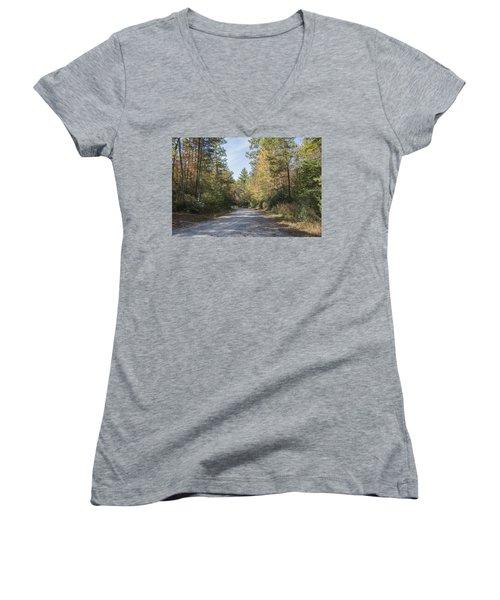 Autumn Road Women's V-Neck T-Shirt (Junior Cut) by Ricky Dean