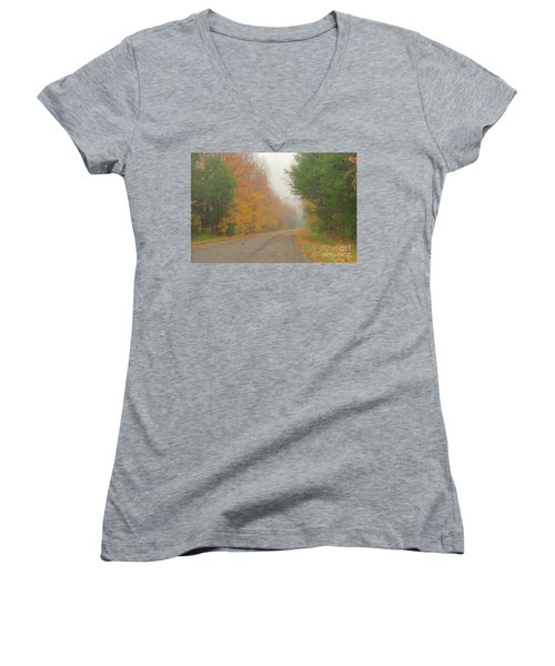 Autumn Roads Women's V-Neck