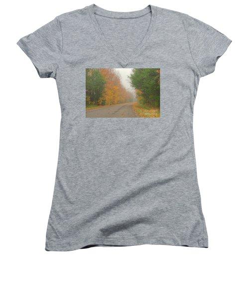 Autumn Roads Women's V-Neck