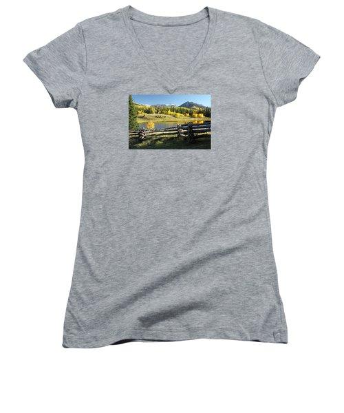 Autumn Serenade Women's V-Neck T-Shirt (Junior Cut) by Eric Glaser