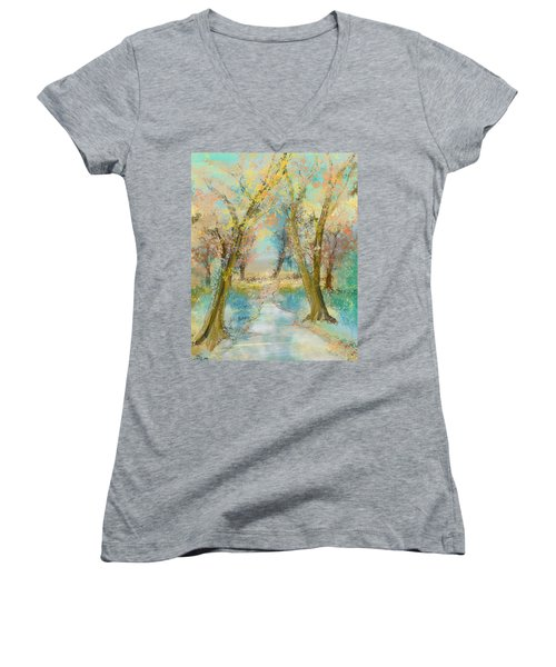 Autumn Sketch Women's V-Neck T-Shirt (Junior Cut)