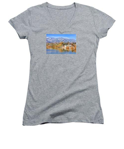 Autumn Snow At The Lake Women's V-Neck T-Shirt (Junior Cut) by Diane Alexander