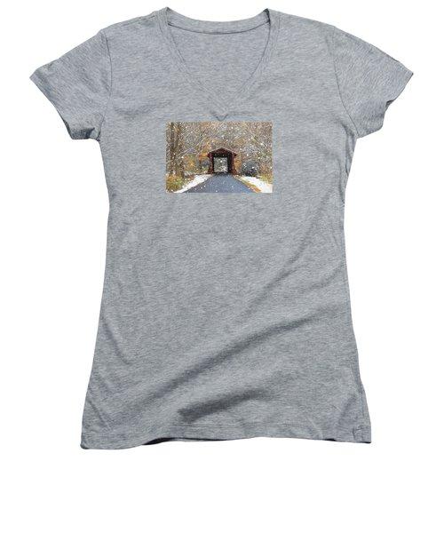 Autumn Snow Women's V-Neck T-Shirt
