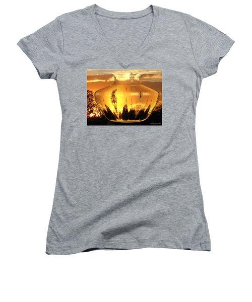 Women's V-Neck T-Shirt (Junior Cut) featuring the photograph Autumn Spirits by Joyce Dickens