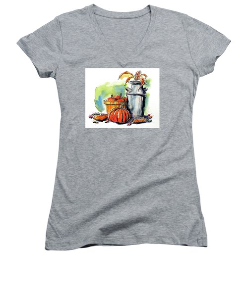 Women's V-Neck T-Shirt (Junior Cut) featuring the painting Autumn Still Life 2 by Terry Banderas