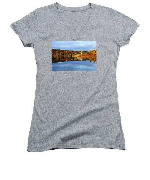 Autumn Sunrise At Wachusett Reservoir Women's V-Neck T-Shirt