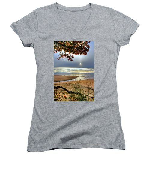 Autumn Sunrise On The James Women's V-Neck (Athletic Fit)