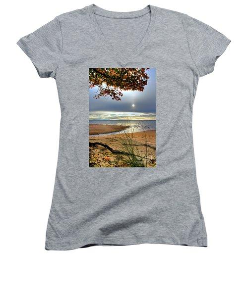 Autumn Sunrise On The James Women's V-Neck T-Shirt