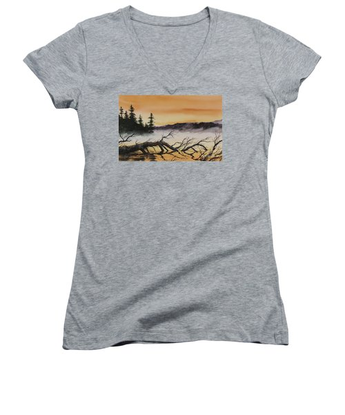 Women's V-Neck T-Shirt (Junior Cut) featuring the painting Autumn Sunset Mist by James Williamson