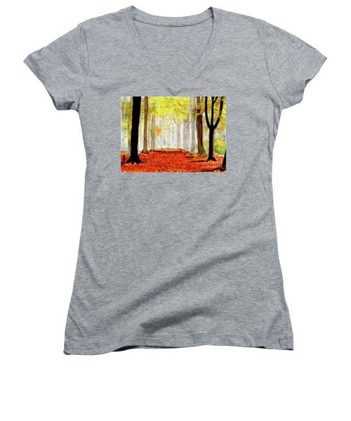 Women's V-Neck T-Shirt (Junior Cut) featuring the painting Autumn Trail by Yoshiko Mishina