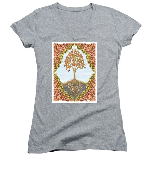 Autumn Tree With Knotted Roots And Knotted Border Women's V-Neck T-Shirt (Junior Cut) by Lise Winne