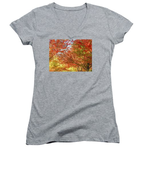 Autumn Trees Digital Watercolor Women's V-Neck (Athletic Fit)